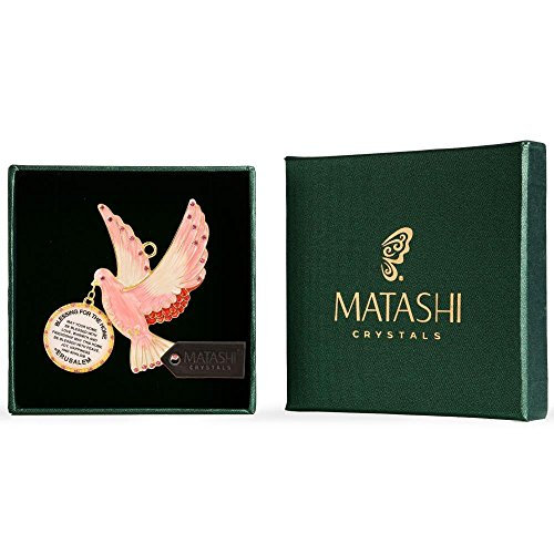 Matashi English Judaica Pink Dove Home Blessing Hanging Wall Ornament w Crystals (Pewter) Beautiful Décor for Kitchen, Living, or Family Room | Intricate Design | Peace, Joy, Happiness, Success