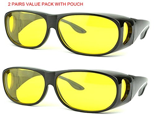 SOOLALA 2 Pairs Value Pack HD Night Vision Wraparounds Wrap Around Windproof - Men Price Low Sunglasses For