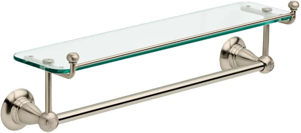 Delta Cassidy 18 in Glass Bathroom Shelf with Towel Bar in Stainless 79710-SS