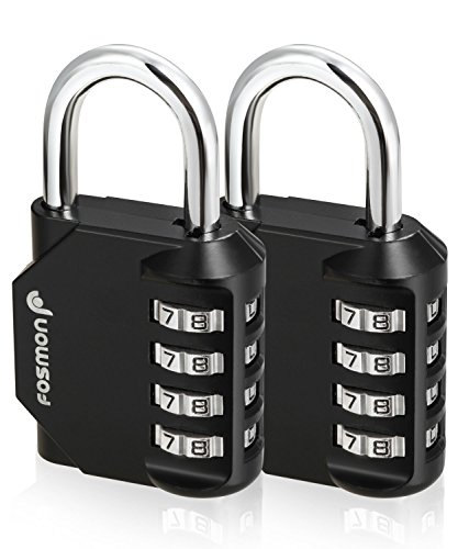 Fosmon Combination Lock (2 Pack) 4 Digit Padlock with Metal Alloy Body for School, Gym Locker, Gate, Bike Lock, Hasp and Storage - Black by Fosmon