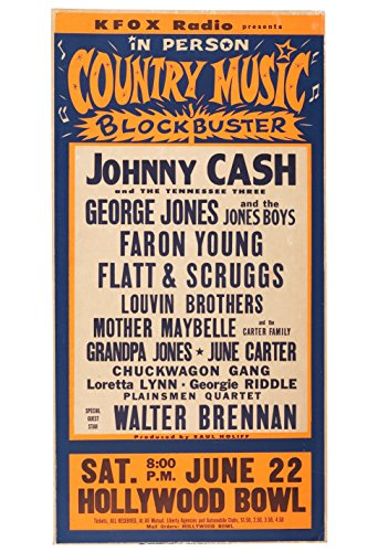 (Johnny Cash Country Music Blockbuster 9 X 18 Country Music Musician Concert Poster Rock and Roll Legends Live Forever)