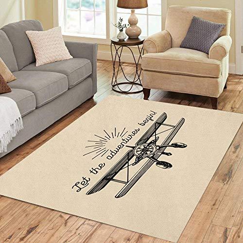 Pinbeam Area Rug Let The Adventures Begin Motivational Vintage Retro Home Decor Floor Rug 5' x 7' ()