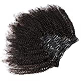 KeLang Hair African American Afro Kinky Curly Clip In Human Hair Extensions Brazilian Virgin Hair Natural Color 4B 4C Afro Kinky Curly Clip Ins For Black Women 10inch 7pcs/lot,120gram/set