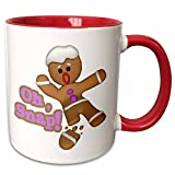 """3dRose 119149_5""""Funny Oh Broken Snapped Gingerbread Man Cookie Holiday Christmas Humor"""" Ceramic Mug 11 oz Red/White"""