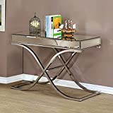 Sofa Table Contemporary, Modern Mirrored Orelia Luxury Chrome Metal. Glamorous Design Features a Sleek Chrome Finish and Metal Tubing Creates a Curving X-Shaped Frame. Assembly Required