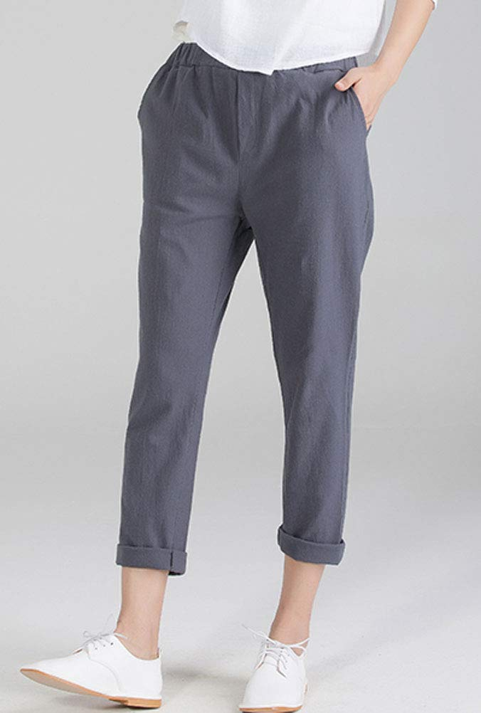 Soojun Womens Cotton Linen Loose Fit Elastic Waist Harm Pant, Grey, X-Large by Soojun (Image #3)