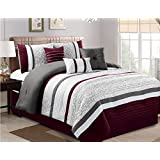 jbff 7 piece oversize luxury stripe bed in bag microfiber comforter set purple cal king
