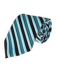 Mens Necktie Turquoise White Black Diagonal Stripe Fashion Tie