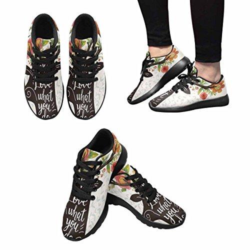 Chaussures De Course De Trailprint Womensprint Jogging Sports Légers Marchant Des Baskets Athlétiques Aiment Ce Que Vous Faites, Silhouette De Cerf Incroyable Avec Des Fleurs Impressionnantes Dans Les Cornes Multi 1