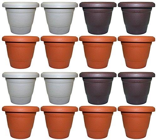 Set of 16 Black Duck Brand Plastic Multi Color 6″ Round Flower Planter/Pot (16, 6″ Round) Review