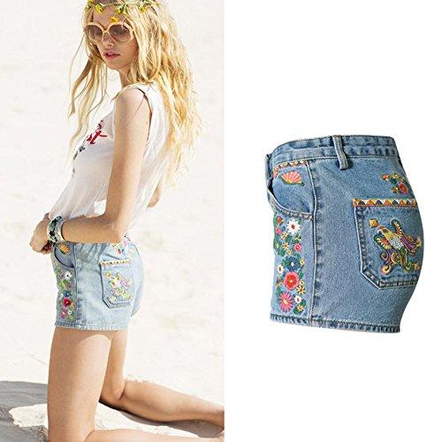 Con Pantaloncini Blue Jeans In Vita Elasticizzati Bohemia Alta Fantasia x7Ug71qw