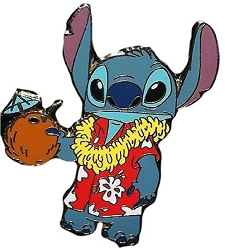 Disney Parks Stitch In Aloha Shirt w/ Coconut Drink Trading Pin Girl Hawaiian Pin