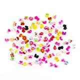 PUEEN 100pc Assorted Bows, Cats, Strawberry, Lady Bug, Ice Cream, Cupcake, Teddy Bear, Floral, Hearts, Bunny, Candy & More Flat Back Resin Cabochons For Nail Art & Cell Phone Decorations