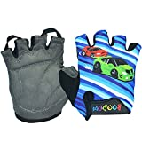 Ezyoutdoor Padded Cycling Bicycle Gloves MTB Bike Racing Riding Skateboard Skating Half Finger For Children M/L 6-10 Years Old (Blue Car, Medium)