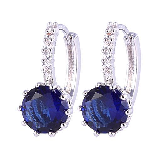 GULICX Blue Round Rhinestone Charming Pierced Drop Hoop Earrings White Gold Electroplated Cubic Zirconia