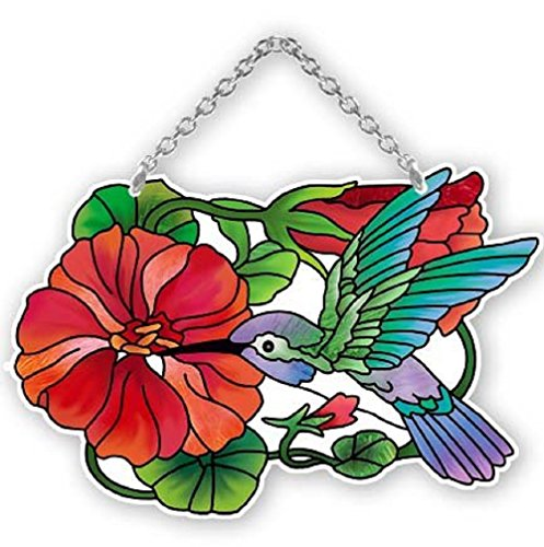 Nasturtium and Hummingbird Painted Glass Suncatcher by Joan Baker 4.25