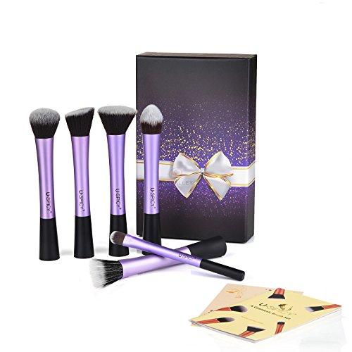 USpicy Cosmétique Pinceaux de Maquillage, 6 pièces pinceau de maquillage professionnel Set avec boîte-cadeau, trousses de maquillage (Violet)