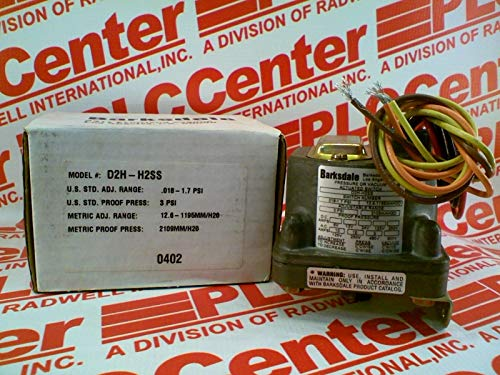 BARKSDALE D2H-H2SS Pressure Switch .018-1.7PSI 10AMP 12-250VAC/DC