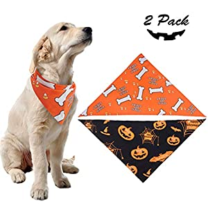2 Pack Dog Halloween Bandana – Pumpkin Black Scarf and Bone Orange Triangle Scarf, Cute Festival Dressup