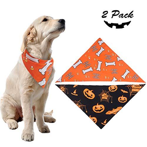 Cute Halloween Dog Pics (PUPTECK 2 Pack Dog Halloween Bandana - Pumpkin Black Scarf and Bone Orange Triangle Scarf, Cute Festival)