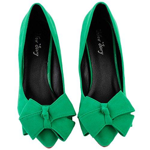 Mostrar historia Sexy arco verde partido señalado del dedo del pie talón perla exquisito vestido bomba, LF60414 Verde