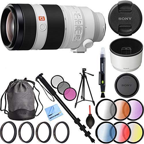 (Sony FE 100-400mm f/4.5-5.6 GM OSS Full Frame E-Mount Lens (SEL100400GM) with 77mm UV, Polarizer, FLD, Close-Up, and Graduated Color Filter Sets Plus Pro Monopod and Tripod Bundle)