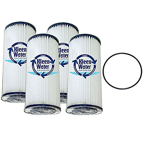 Generic Flomax - Pleated Dirt Rust Sediment Filter, KleenWater KW4510BR Replacement Water Filter Cartridge, 50 Micron, Set of 4, One O-ring for Wide Body Housings