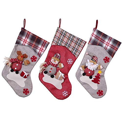 YAMUDA Christmas Stocking, 3Pcs Classic Socks for Xmas Home Decor, Stuffed Christmas Tree Hanging Toys, Candy Gift Bag Holders for Kids, Restaurant Hotel Decorations and Party Supplies (Xmas-01) (Decoration Socks Christmas)