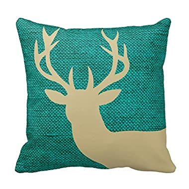 Rustic Deer Head Silhouette on Burlap Turquoise Pillow 18*18  for Living Room Couch