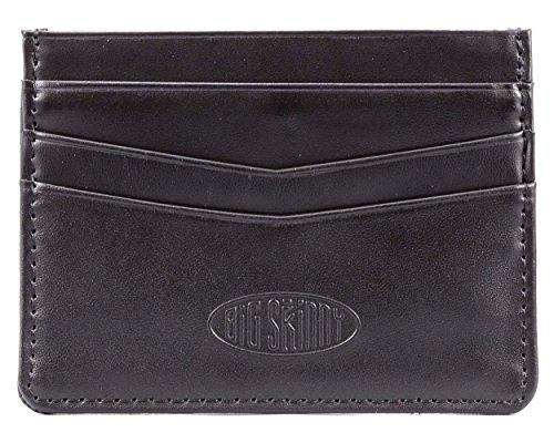 Big Skinny Mini Skinny Leather Card Slim Wallet, Holds Up to 12 Cards, Black