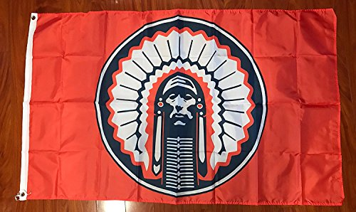 ORANGE Illinois Fighting Illini Chief Flag 3x5 feet NEW grommets - banner Bar Decor Man Cave]()