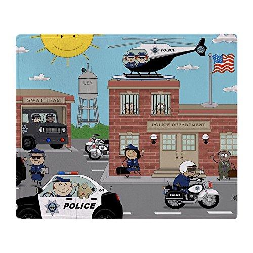 CafePress Police Department Scene Soft Fleece Throw Blanket, 50