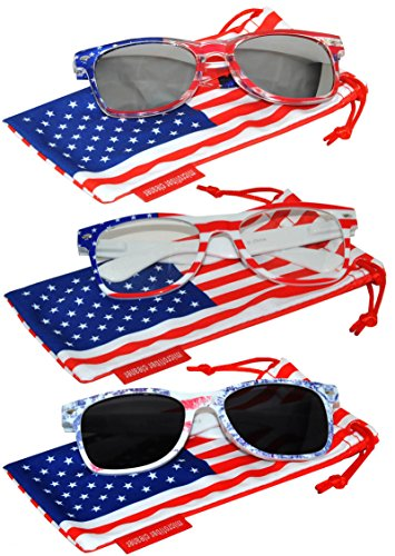 Clear Silver Mirror Lens (Set of 3 pairs Classic American Patriot Flag Sunglasses Smoke Clear Silver Mirror Lens USA American Flag White Clear Ice Denim Frame OWL)