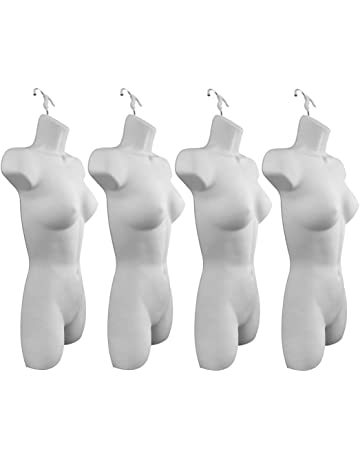5b852dbec6 Only Hangers Set of Four Women s Torso Female Plastic Hanging Mannequin  Body Forms in White -