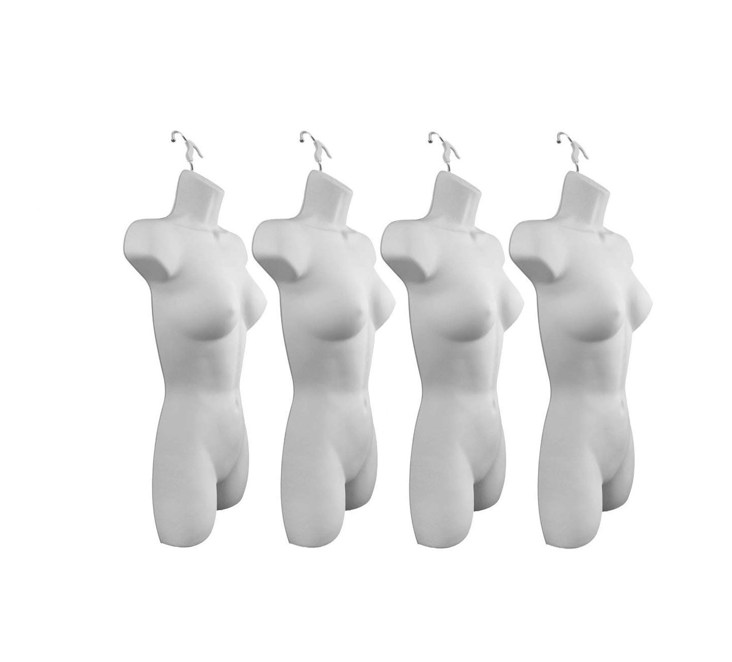 Only Hangers Set of Four Women's Torso Female Plastic Hanging Mannequin Body Forms in White - Pack of (4) #8081WHT (PACK OF 4)