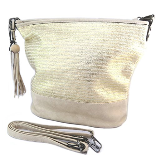Creador bolsa 'Scarlett'de color beige dorado - 38x32x16 cm.