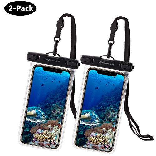 UNBREAKcable Universal Waterproof Case 2 Pack - IPX8 Waterproof Phone Pouch Dry Bag for iPhone Xs Max XR XS X 8 7 6s 6 Plus, Samsung S10+ S10 S10e S9 S8, Google Pixel 2, Up to 6.6 inch (Google Nexus 9 Screen Protector)