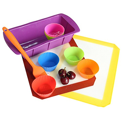 Non-Stick Baking Set Of Silicone Cupcake Liners By Kitchen Alive (16 Pieces) | Includes Loaf Pan, Basting Brush and Pan Liners | Dishwasher-Proof, Hypoallergenic and Heatproof | Easy To Use and Clean by Kitchen Alive