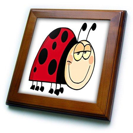 3dRose ft_118568_1 Cute Goofy Cartoon Grinning Little Ladybug Framed Tile, 8 by (Ladybug Framed Tile)