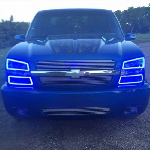 Vivid Light Bars Chevy Silverado 03-06 RGB Halo Headlight Kits with Bluetooth Remote (Chevy Silverado 03-06 Headlight Kits)