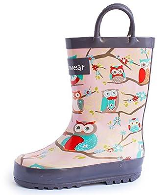 Oakiwear Girls Rubber Rain Boots w/ Easy-On Handles - Pink Owls