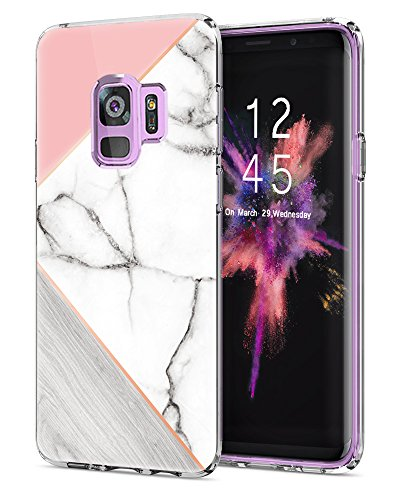 Galaxy S9 Case,LUOLNH Marble Design Slim Shockproof Flexible Soft Silicone Rubber TPU Bumper Cover Skin Case for Samsung Galaxy S9 2018 -Geometric ()