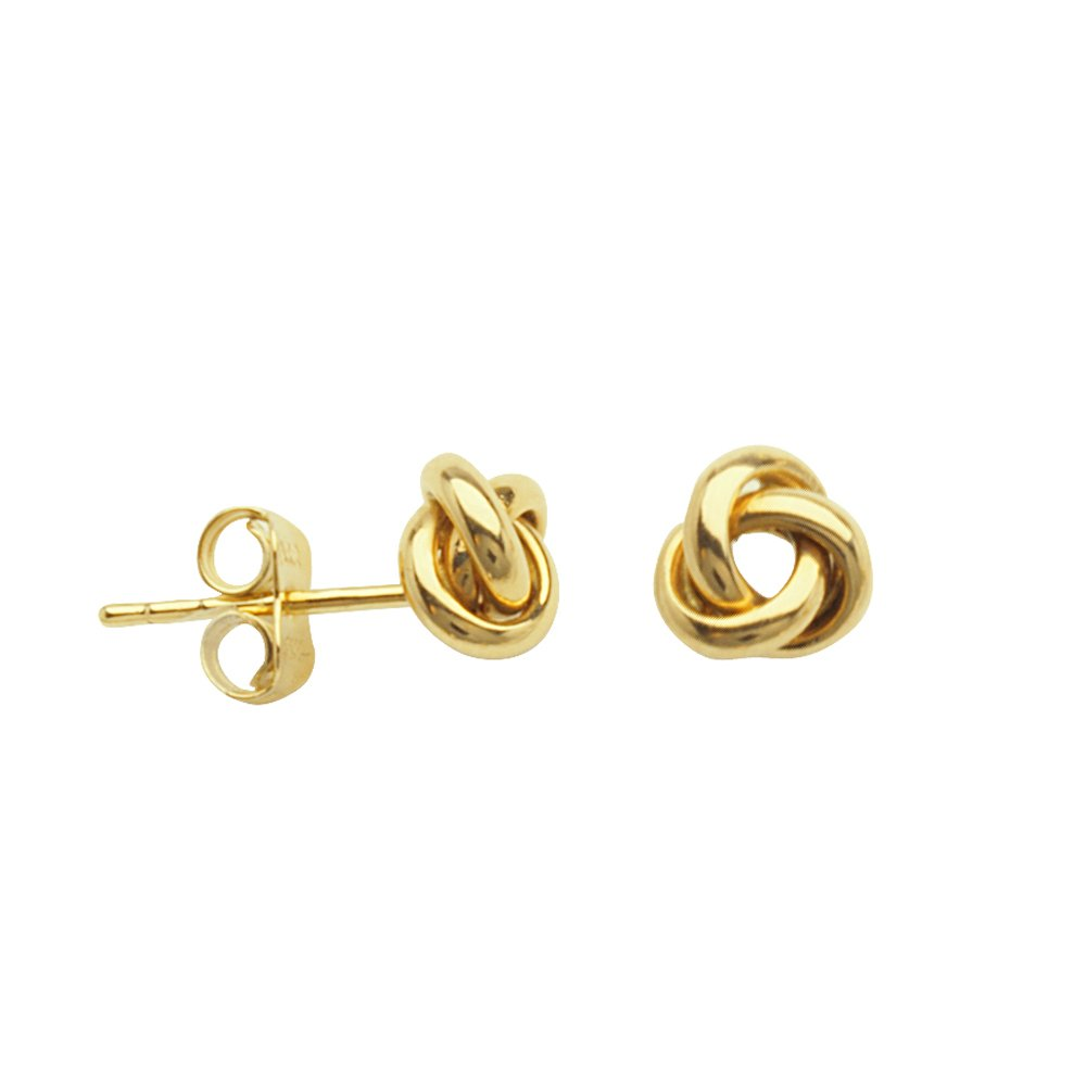 50a6a2aa1 Amazon.com: LOVE KNOT EARRINGS, 10KT GOLD HOOP MEDIUM OPEN 3 LOOP LOVE KNOT  POST EAR 6MM ROUND: Jewelry