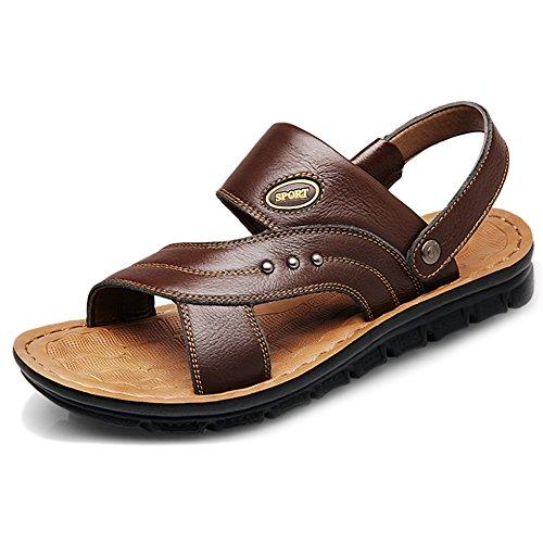Zapatillas Antideslizantes Playa Masculinas Sandalias Para Brown Verano De Doble Masculina Zapatos Genuino De De Casuales Inferior Suave Uso Natación Zapatos Cuero Piscina rFw4rWq5X