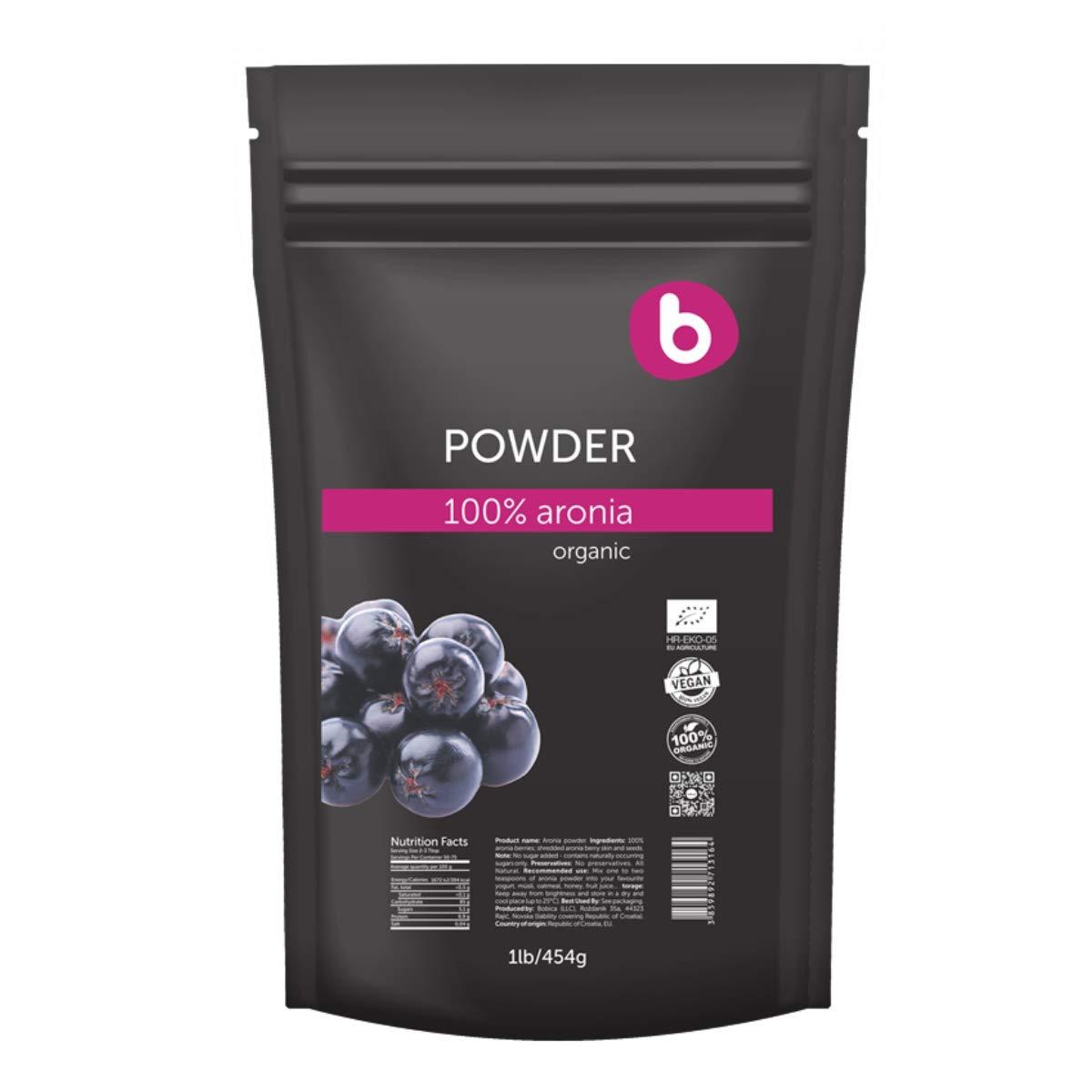 Bobica's PREMIUM European Organic Aronia Berry (Chokeberry) Powder   1lb/454g   Antioxidant Superfood, Anti-inflammatory, Immunity   100% Pure, Non-GMO, Gluten-Free, Raw   by Bobica