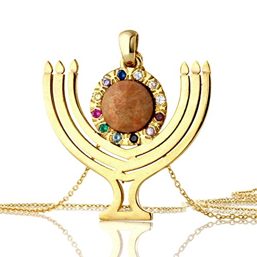 (YELLOW GOLD Menorah Choshen charm on gold plated 18k necklace Embedded in its design is the precious Jerusalem)