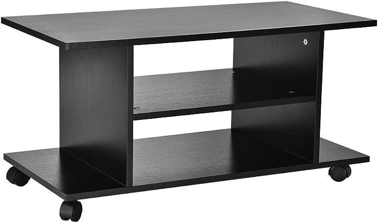 EBTOOLS Mueble TV con Ruedas Mueble para Televisión Soporte Móvil de TV Mueble Bajo de TV Mueble Auxiliar para Televisión y Equipo de Música Color Negro, 80 x 40 x 40cm: Amazon.es: