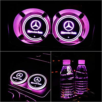 Hcar LED Car Cup Holder Pad for Benz with 7 Colors Changing USB Power Auto Car Coasters, Waterproof Car Interior Atmosphere Lamp 2pcs: Automotive