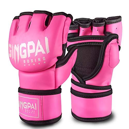 GINGPAI Half Training Boxing Mitts Gloves for Men Women, Training Gloves, Sparring Gloves for Punching Bag, Kickboxing…