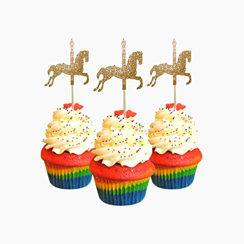 Carousel Horse Cupcake Toppers cardstock Color Gold 12 pc Pack Decoration ()